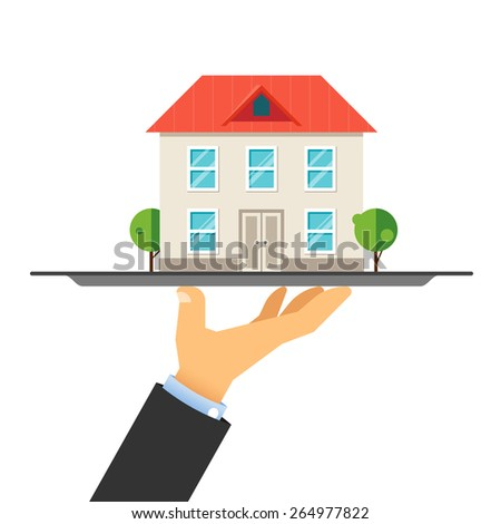 House on a tray. Sale of residential real estate. Renting of premises. Business in the field of residential real estate - stock vector