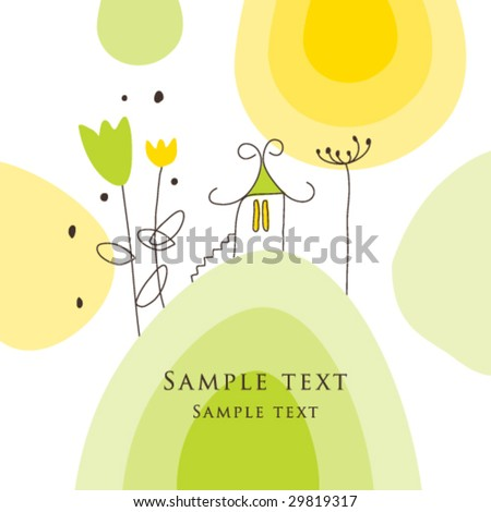 House on the hill - stock vector