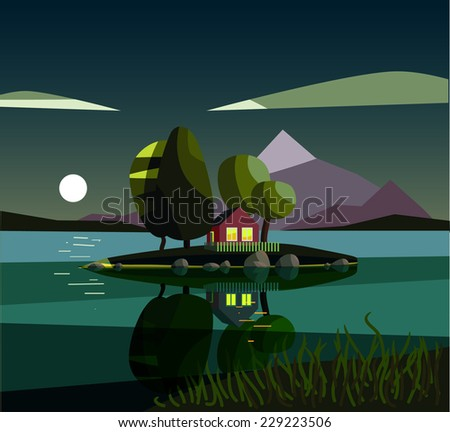 House on the lake. Night. Vector illustration. - stock vector