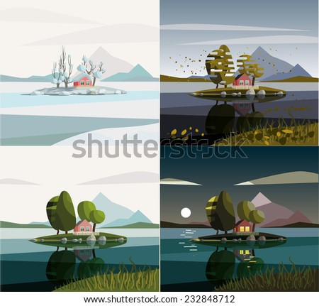 House on the lake. Seasons set. - stock vector