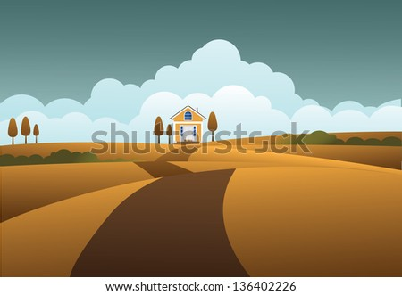 House on the prairie. EPS 10 vector, grouped for easy editing. No open shapes or paths. - stock vector