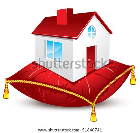 house on the red satin pillow with gold tassels, vector