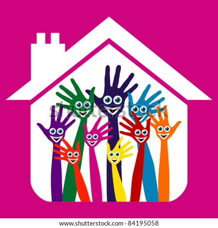 House party design with happy face hands. - stock vector