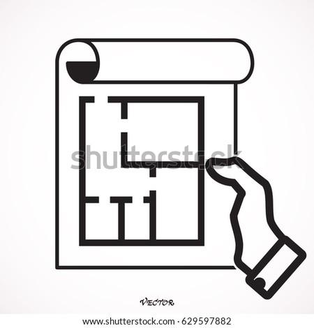 Floor Plan Icon Vector Stock Vector Shutterstock