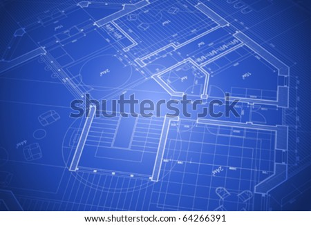 house plan: vector blueprint - stock vector
