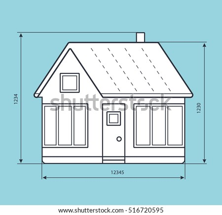 House project blueprint drawing dimension lines stock vector house project blueprint drawing with dimension lines malvernweather Images