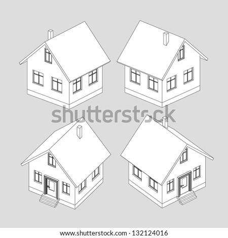 house project vector black and white sketch illustration - stock vector
