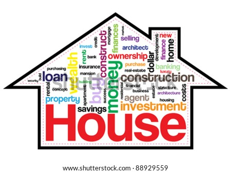 House Property Words Info-Text Graphic and Arrangement Concept on White Background (Word Clouds) - stock vector