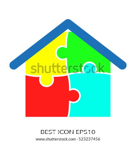house, puzzle, vector icon, eps10