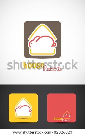 House rabbits Icon such logo, Vector EPS10. - stock vector