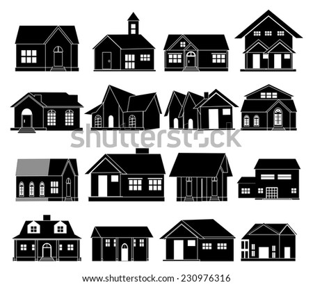 House real estate icons set - stock vector