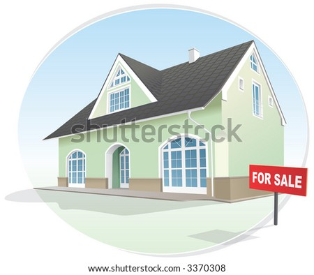 House, real estate, sign for sale. Vector illustration