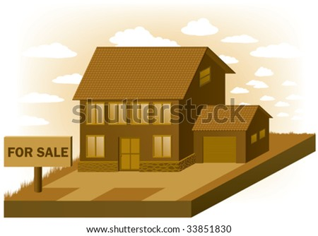 House, real estate, sign for sale. Vector illustration - stock vector