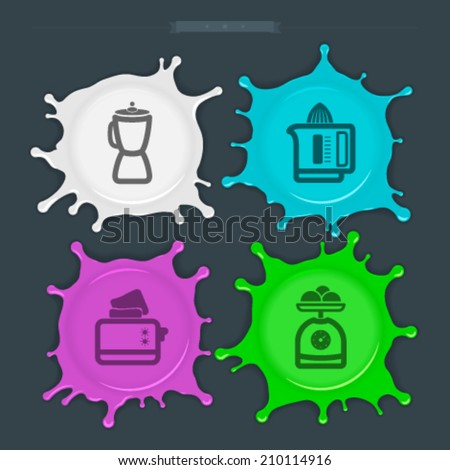House related Objects from left to right - Blender, Juicer, Toaster, Kitchen scale.  - stock vector