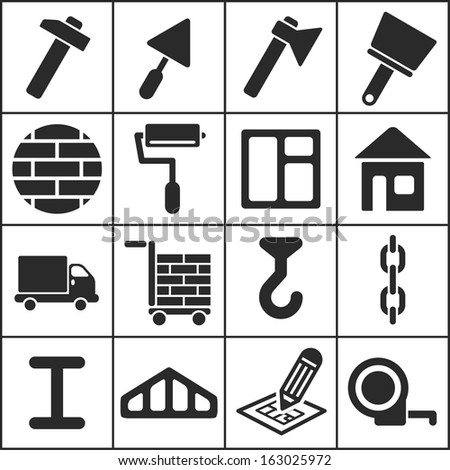 House remodel: set of flat simple web icons (construction, building), vector illustration - stock vector