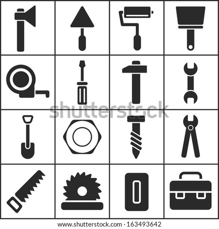 House remodel: set of flat simple web icons (tools, construction, building, production, manufacture), vector illustration - stock vector