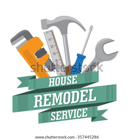 house remodel tools. Home repair service. House repair company logo. Flat style toola for building, remodel and repair, house remodel icon, home repair icon, diy tools - stock vector