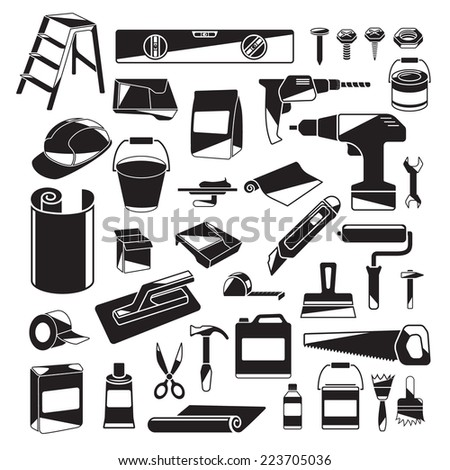 House Remodeling Black and White Design Elements. Flat with Highlights. Perfect for Web Design, Logo, Icons or Business Presentation - stock vector