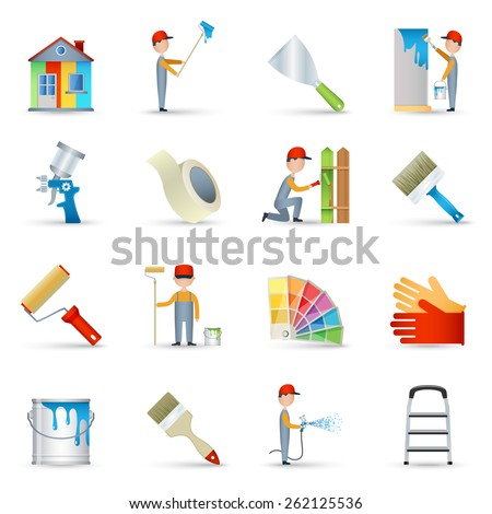 House renovation wall painting with long handle roller and masking tape icons collection abstract isolated vector illustration - stock vector