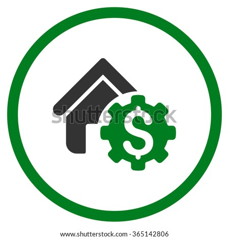House Rent Options vector icon. Style is bicolor flat circled symbol, green and gray colors, rounded angles, white background. - stock vector