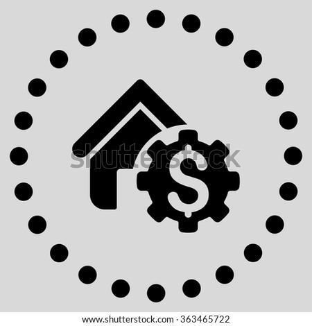 House Rent Options vector icon. Style is flat circled symbol, black color, rounded angles, light gray background. - stock vector