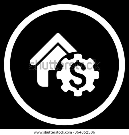 House Rent Options vector icon. Style is flat circled symbol, white color, rounded angles, black background. - stock vector