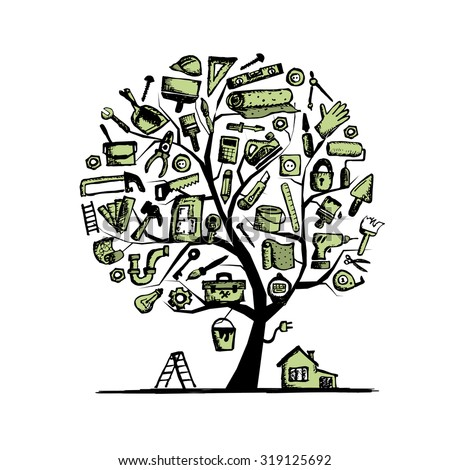 House repair, concept tree for your design. Vector illustration