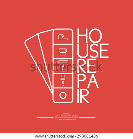 House repair. Elements and icons for cards, illustration, poster and web design. - stock vector