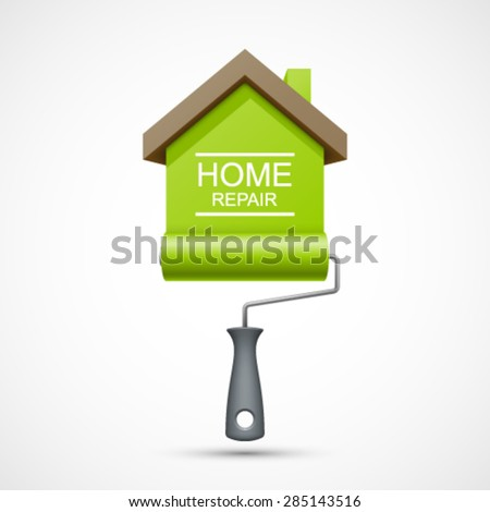 House repair icon. Painting services icon. Paint roller with green house. Easy to change color. - stock vector