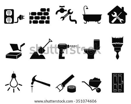 house repair icons set - stock vector