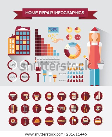 House repair infographic, set elements. Web icon set- home repair tools. Vector illustration - stock vector
