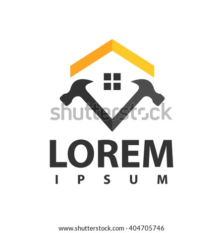 house repair logo - stock vector