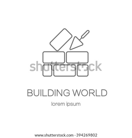 House repair logo. Cement trowel and brick wall isolated on white background. Logotype design templates. Modern easy to edit logo template. Vector logo design series. - stock vector
