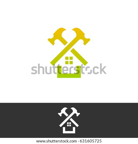 Superior House Repair Logo. Roof Repair Logo. Repairs House Sign. Home Improvement  Logo.