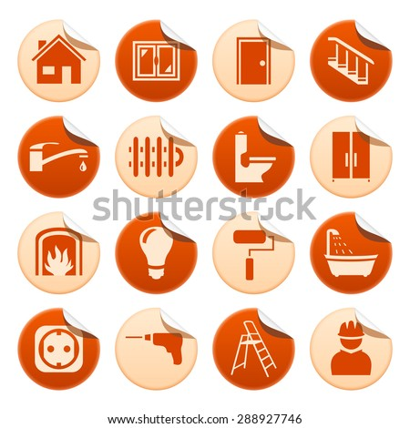 House repair stickers - stock vector