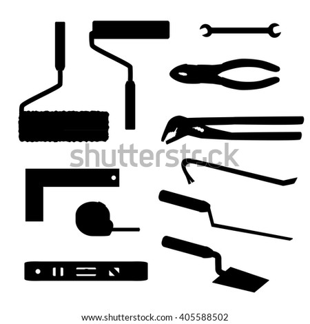 House repairs tools Crowbar, groove joint pliers, joint filler, open-ended spanner, paint roller, setsquare, slip joint pliers, spirit level, square trowel, tape measure, wallpaper roller, silhouettes - stock vector