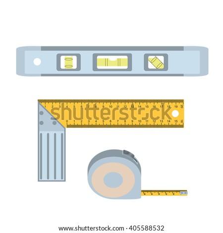 House repairs tools. Setsquare, spirit level, tape measure. Tools for repair (setsquare, spirit level, tape measure). Colorful images of repair tools (setsquare, spirit level, tape measure). - stock vector