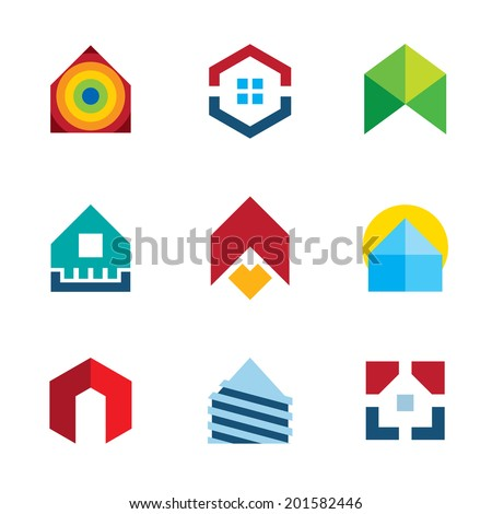 House residential build construction real estate logo colorful icon set - stock vector