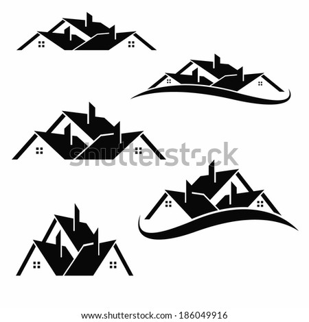 House roofs set for real estate business - stock vector