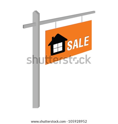 house sale on table illustration art vector on white - stock vector