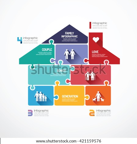 house shape  jigsaw banner . family concept infographic Template vector illustration - stock vector