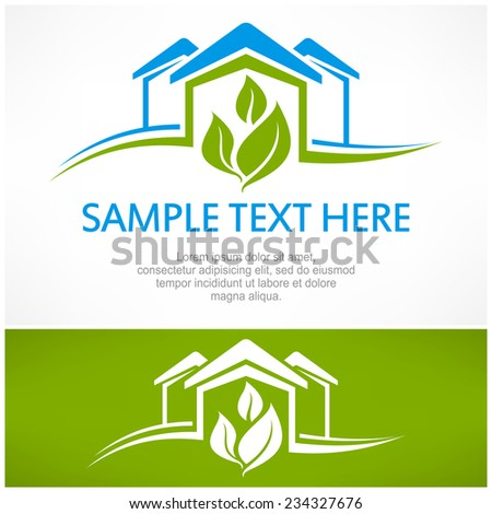 House sign with green leaf, vector illustration - stock vector
