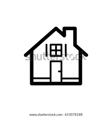 House Simple Vector Icon Black And White Illustration Of Real Estate Outline Linear Apartments