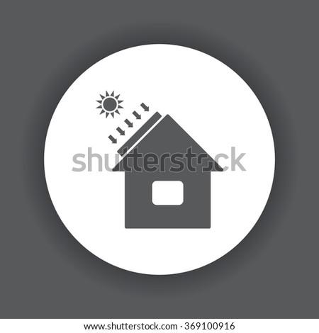 house - solar energy, solar heater icon, vector illustration. Modern design. Flat design style - stock vector