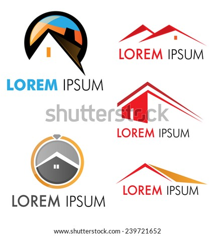 house symbol  set  isolated on white - stock vector