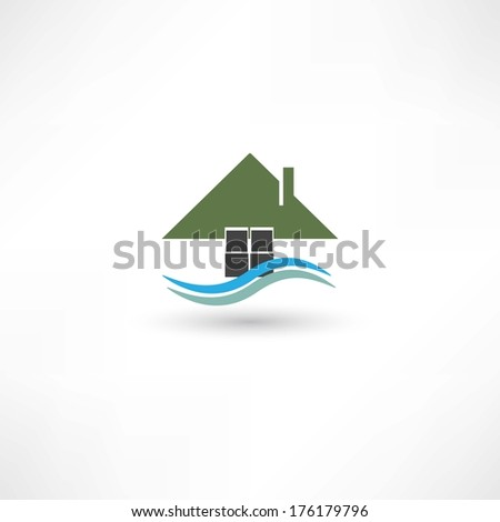 house symbol with wave - stock vector