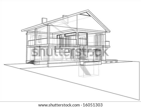 house technical draw - stock vector