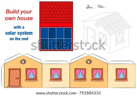house template solar panel collectors on stock vector 792884335 shutterstock. Black Bedroom Furniture Sets. Home Design Ideas
