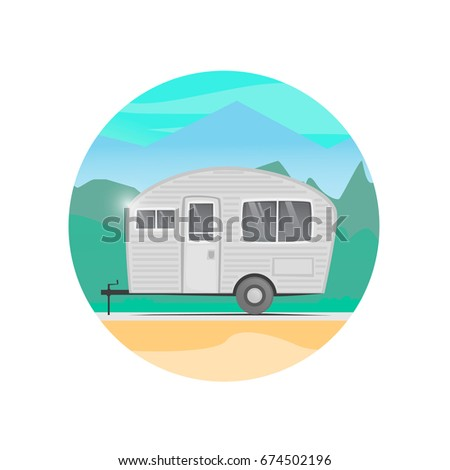 House Trailer On Wheels Camping Flat Design Vector Illustration