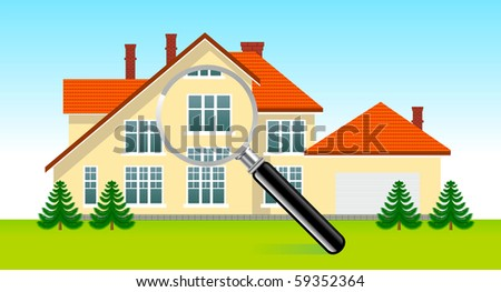House under magnifying glass - stock vector